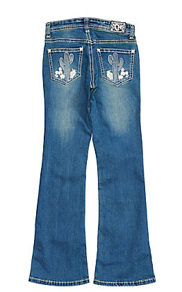 Cowgirl Hardware Girls' Medium Wash Embroidered Cactus Boot Cut Jeans