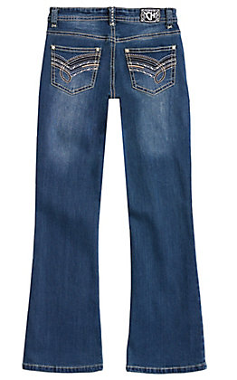 Cowgirl Hardware Girls' Medium Wash Barbwire Loop Embroidery Boot Cut Jeans