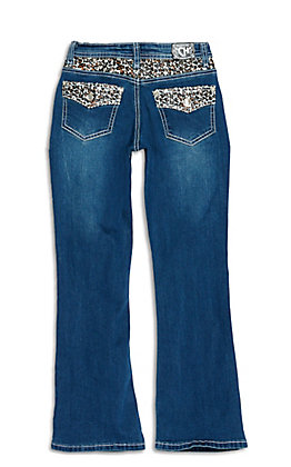 Cowgirl Hardware Girls' Dark Wash Leopard Print Yoke and Pockets Boot Cut Jeans
