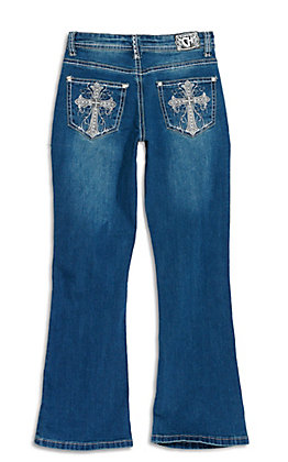 Cowgirl Hardware Girls' Dark Wash with Silver Cross Embroidery Boot Cut Jeans