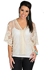Origami Women's Cream Mesh with Crochet and Embroidery Short Sleeve Poncho Fashion Top