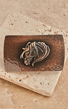 Montana Silversmiths River Rock Cascade Small Rectangle Horsehead Buckle