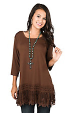 Southern Grace Women's Brown with Crochet Trim and Fringe 1/2 Sleeve Casual Knit Top