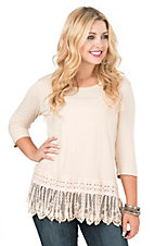 Southern Grace Women's Cream with Crochet Trim and Fringe 1/2 Sleeve Casual Knit