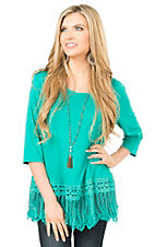 Southern Grace Women's Turquoise with Crochet Trim and Fringe 1/2 Sleeve Casual Knit Top