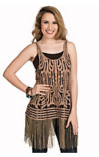 Origami Women's Taupe Crochet with Fringe Sleeveless Tank Fashion Top