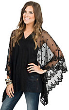 Origami Women's Black Sheer Lace Poncho Top