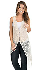 Origami Women's Natural Crochet with Lace Bottom and Fringe Sleeveless Vest