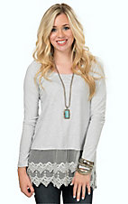 Origami Women's Heather Grey Long Sleeve Tee with Lace Trim