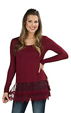 Origami Women's Maroon Long Sleeve Tee with Lace Trim
