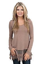 Origami Women's Mocha Brown Long Sleeve Tee with Lace Trim