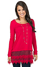 Origami Women's Red Long Sleeve Tee with Lace Trim