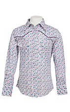 09 Apparel Girl's Pink & Purple Floral Print Long Sleeve Western Shirt