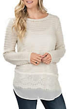 Anne French Women's Ivory Textured & Lace Sweater Fashion Top