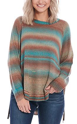 Magnolia Lane Women's Teal & Brown Long Sleeve Sweater