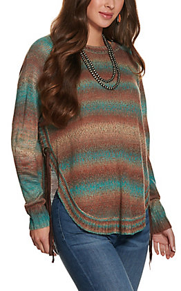 Magnolia Lane Women's Teal Ombre Sweater