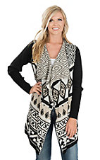 Anne French Black & White Multi-Pattern Sweater Cardigan