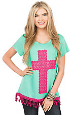 Southern Grace Women's Mint with Hot Pink Cross and Crochet Fringe Cap Sleeve Casual Knit Top