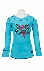 Cowgirl Hardware Girl's Turquoise with Brown Embroidered Horse Design Long Sleeve Casual Knit Top