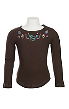 Cowgirl Hardware Girl's Brown with Horse Embroidered Long Sleeve Casual Knit Shirt