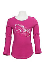 Cowgirl Hardware Girls' Pink Waffle Embroidered L/S Shirt
