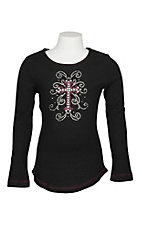 Cowgirl Hardware Black Rhinestone Cross and Swirls Long Sleeve Shirt