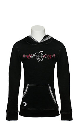 Cowgirl Hardware Girls Black and Pink Floral Horse Embroidered Waffle Weave Pullover Hoodie
