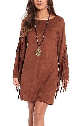Rockin' C Women's Chestnut Suede Fringe Dress