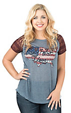 Daisy Rae Women's Blue with USA Flag Land I Love Maroon Cap Sleeve Casual Knit Top