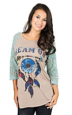 Daisy Rae Women's Taupe with Dream On Dream Catcher Screen Print and Turquoise Lace 3/4 Sleeves Casual Knit Shirt