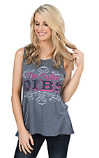Daisy Rae Women's Navy I'm Callin Dibs Sleeveless Casual Knit Top