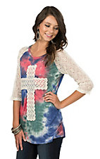 Southern Grace Women's Red and Blue Tie Dye with Crochet Cross and Crochet 3/4 Sleeves Casual Knit Top
