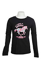 Cowgirl Hardware Girl's Black with I Love Horses Screen Print Long Sleeve Casual Knit Top
