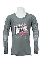 Cowgirl Hardware Girl's Grey Burnout Long Sleeve Tee