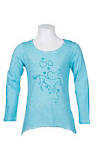 Cowgirl Hardware Girl's Turquoise with Blue Studded Horse Long Sleeve Casual Knit Top