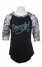 Cowgirl Hardware Girl'sBlack with Cowgirl Stud Embellishment and Paisley Print 3/4 Sleeves Casual Knit Top
