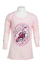 Cowgirl Hardware Girl's Pink with Turn and Burn Screen Print Long Sleeve Casual Knit Top