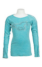 Cowgirl Hardware Girl's Turquoise with Lace Sleeve and Silver Studded Horse Long Sleeve Casual Knit Top