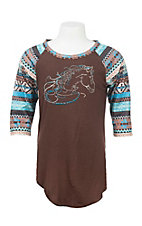 Cowgirl Hardware Brown with Studded Horse and Long Aztec Print Sleeves Casual Knit Shirt