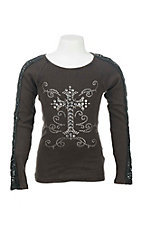 Cowgirl Hardware Girl's Black Ribbed with Rhinestone Cross and Long Crochet Detailed Sleeves Casual Knit Shirt