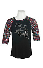 Cowgirl Hardware Girl's Black wih Studded Horse and Heart Design and Aztec Print 3/4 Sleeves Casual Knit Shirt