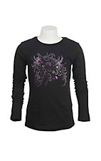 Cowgirl Hardware Girl's Black with Purple Studded Horse Head Long Sleeve Casual Knit Top