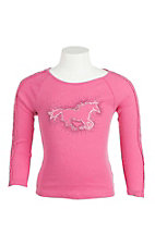 Cowgirl Hardware Girl's Pink with Studded Horse and Crochet Details on Long Sleeves Ribbed Casual Knit Shirt