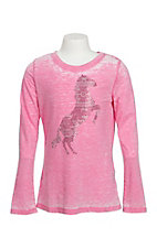 Cowgirl Hardware Girl's Pink Aztec Horse long Sleeve Shirt
