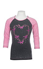 Cowgirl Hardware Girls Grey and Pink Horse Heart Wreath Raglan T-Shirt