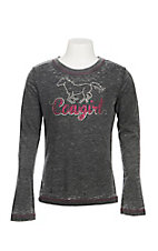 Cowgirl Hardware Girl's Grey/Black Long Sleeve Glitter and Rhinestone Cowgirl Casual Knit Shirt