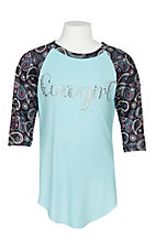 Cowgirl Hardware Girls Paisley and Turquoise Raglan 3/4 Sleeve Shirt