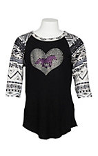 Cowgirl Hardware Girls Black and Aztec Print Horse Heart Raglan 3/4 Sleeve Shirt