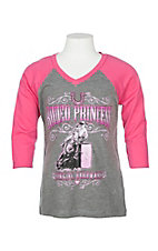 Cowgirl Hardware Girls Grey and Hot Pink Rodeo Princess Shirt