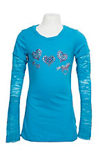 Cowgirl Hardware Girls' Light Blue Horse and Heart Jeweled L/S Shirt
